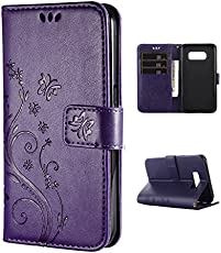FLYEE Samsung S8 Case,Galaxy S8 Wallet Case, Flip Case Wallet Leather [Kickstand] Emboss Butterfly Flower Folio Magnetic Protective Cover with Card Slots for Samsung Galaxy S8 5.8 inch-Purple