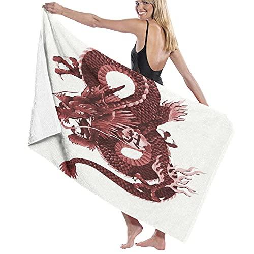 NANITHG Toallas de Playa Grandes de Antiarena de Microfibra Dragón japonés Toallas Baño Secado Rapido Piscina, Manta Playa,Toalla Yoga Deporte Gimnasio