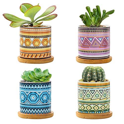 BestFire - Macetas para Flores suculentas para Exteriores, Juego de 4 macetas para macetas suculentas, Maceta de cerámica, Patrones geométricos, Maceta para Cactus