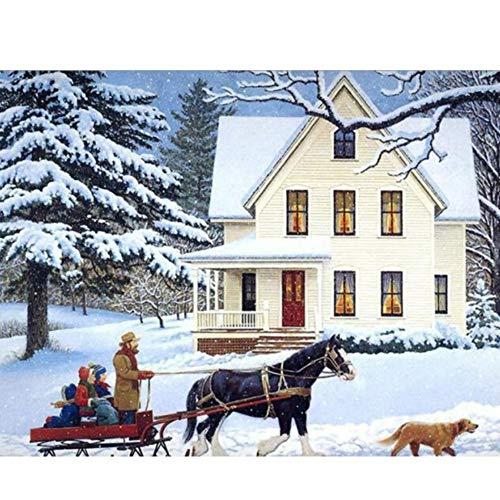 5D Diamant Schilderij Borduurwerk Hoge Kwaliteit Canvas Paard Drawn Sleigh DIY Tekenen Mozaïek Gift Home Decoratie Souvenir Naaldwerk Onvoltooid