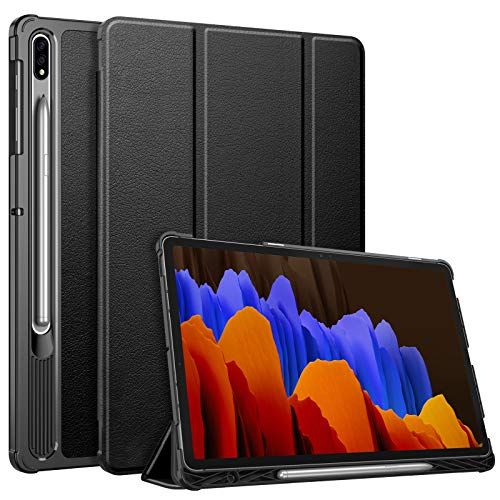 FINTIE SlimShell Case for Samsung Galaxy Tab S7 Plus S7+ 12.4'' 2020 SM-T970/T976/T975 with S Pen Holder, Super Thin Lightweight Tri-Fold Stand Cover with Auto Wake/Sleep, Black