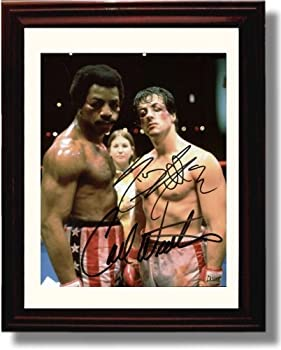 Framed Slyvester Stallone and Carl Weathers Autograph Replica Print - Rocky  Portrait