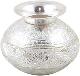 GoldGiftIdeas Silver Plated Nakshi Pooja Kalash (Lota) Indian Pooja Thali Set, Pooja Articles for Home, Return Gifts for Indian Festival, Indian Pooja Items Silver with Potli Bags