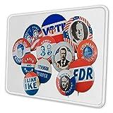 マウスパッド ゲーミングマウスパッド-ビンテージ大統領選挙ボタンピン写真 滑り止め デスクマット 水洗い 25x30cm