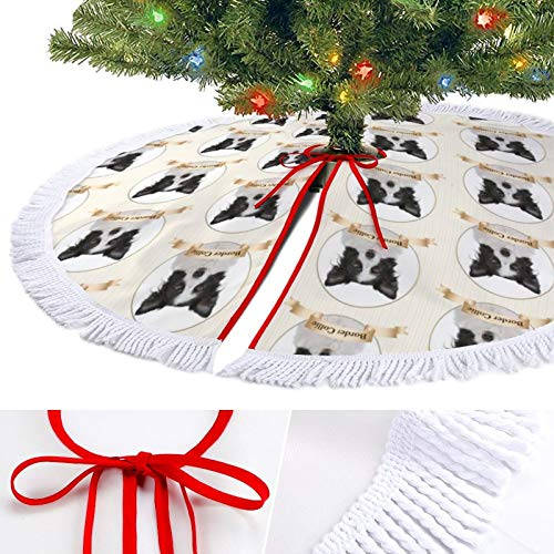 ODOKAY 48 Inch Large Christmas Tree Skirt Holiday Decor for Indoor Ornament 30 Inches Xmas Tree Skirts Border Collie