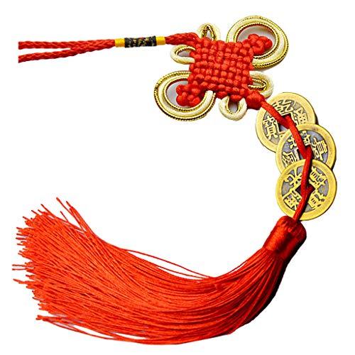 Yushu Nudo chino Feng Shui suerte riqueza 3/6/8/9/10 para el hogar coche colgante borla habitación decoración pared colgante ornamento