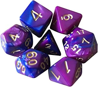 Math Teaching Polyhedral RPG Game Dice 7pcs 2-Color Metal Dices Set with Nebula Effect Poker d/&d d4,d6,d8,d10,d12,d20 for Role Playing Game Dungeons and Dragons Game