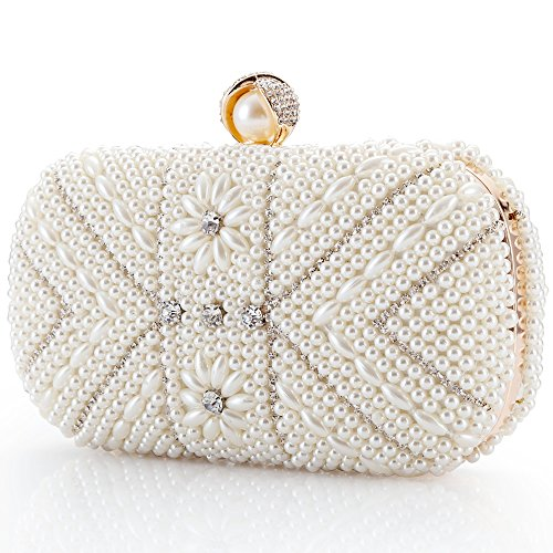 LONGBLE Perlen Clutch Damen Weiß Abendtasche mit Strass Frau Tasche Handtasche klein Brauttasche Kettentasche für Party Hochzeit Geschenk