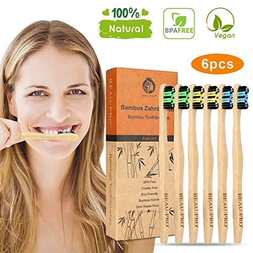 Bambus Zahnbürsten Holzzahnbürste Mittel - 6er Premium Aktivkohle Zahnbürsten Bamboo Toothbrush 100{10ead40f05554f967ecb5c26d82dd3f88086e0f2977126d191fbd0b30e1f8a60} BPA freie, Plastikfrei, Vegan, Umweltfreundlich, Recycelbar Packung(6 Pcs)