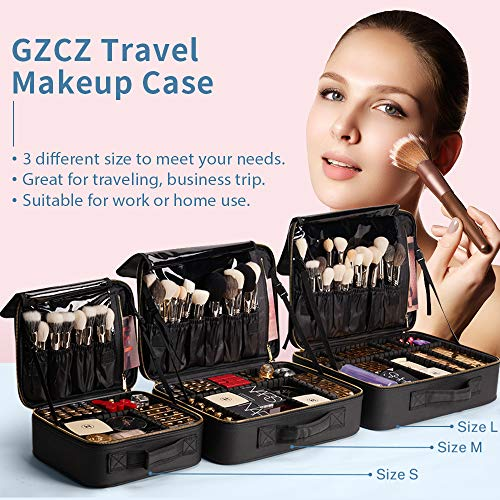 51I3I4fS6kL - GZCZ 3 Layers Large Capacity Travel Professional Makeup Train Case Cosmetic Brush Organizer Portable Artist Storage bag 16.5 inches with Adjustable Dividers and shoulder strap for Make up Accessories