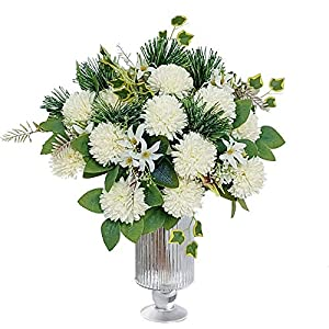 LA.PONEE Fake Hydrangeas Flowers – Bouquets of Artificial Flowers for Wedding Decoration, Silk Flowers with Stems, Floral Centerpieces for Tables, Faux Spring Floral Arrangements (2 Pack – White)