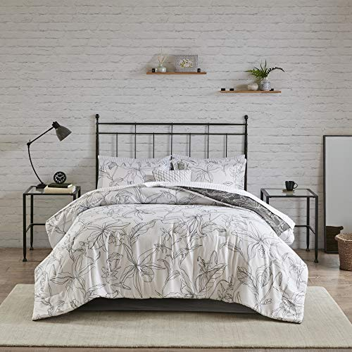 Lorine Full 9pc Reversible Complete Bedding with Cotton Sheets Set White/Charcoal