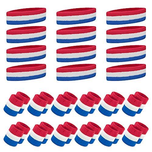 GOGO Lot de 12 Bandeaux de Sport (12 Bandeaux et 24 Bracelets) Taille Unique Rouge/Blanc/Bleu