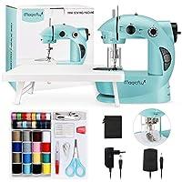 magicfly mini macchina da cucire per principianti, macchina da cucire portatile a doppia velocità con scaffale di espansione, luce, kit da cucire per la casa, viaggio, blu