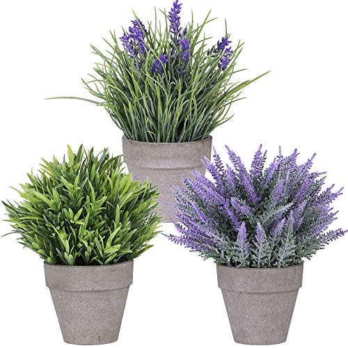 Set of 3 Artificial Lavender Flower Grass Arrangements in Pots Assorted Fake Mini Potted Plants for...