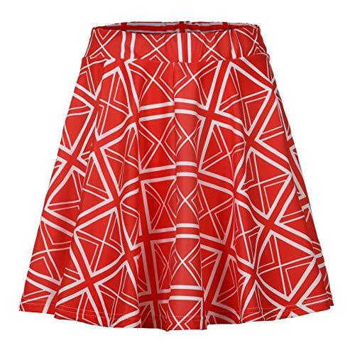Aniywn Women Pleated Mini Skirt Solid High Waist A-Line Skirt Ladies Girls Casual Flare Skater Tennis Skirt