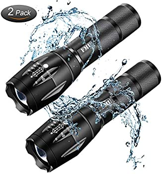 2-Pack Zoomable Water Resistant High Lumen LED Tactical Flashlight
