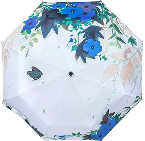 XIKONG Paraguas de Viajes para Mujeres con Manga automática Abierta/Cerca y de Almacenamiento, Totalmente Flor Blue
