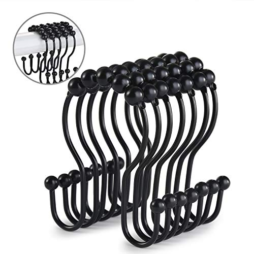 Goowin Shower Curtain Hooks, 12 Pcs Shower Curtain Rings, Stainless Steel Roller Rust-Resistant Balance Sliding Anti-Drop Double Shower Hooks for Curtain Bathroom Shower Curtains (Black)