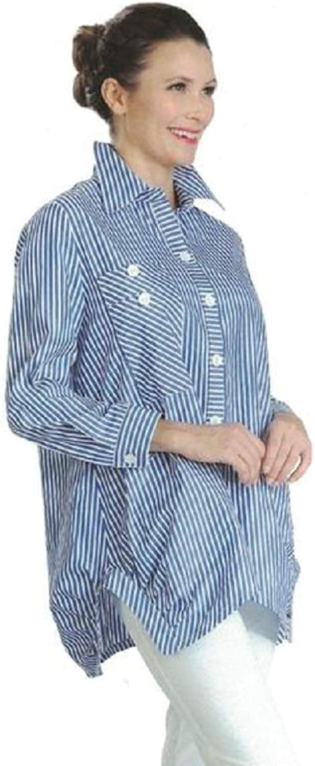 IC Collection Striped Long Pocket Shirt Blouse in bluee White  3218