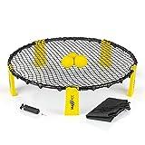 MAXXMEE Mini-Volleyball-Spiel, Spike Ball, Roundnet Set | Inkl. 3 Bälle, Tragetasche & Luftpumpe | Jederzeit & überall spielbar, für drinnen & draußen | Schnell und einfach aufzubauen [gelb/schwarz]