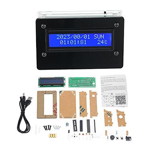 KKmoon USB DC5V 1602 LCD Digital DIY Uhr Kit mit Acryl GEH?use, 3 Kanal Helligkeit Einstellbare Wecker f¨¹r Temperatur Zeit Alarm Datum Woche Anzeige ohne Batterie¡
