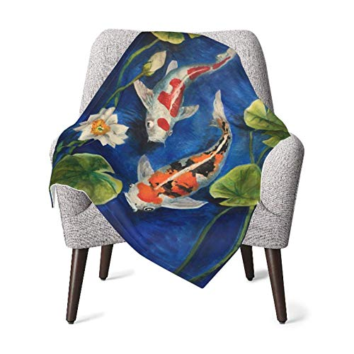 XCNGG Mantas para bebés edredones para bebésKoi Fish Pond Water Lily Baby Blanket All Season, Super Soft Warm Cozy Blanket for Infant, Newborn or Kid, Receiving Blanket for Crib, Stroller, Travel, Dec
