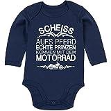 Shirtracer Sprüche Baby - Scheiß aufs Pferd echte Prinzen kommen mit dem Motorrad - 6/12 Monate - Navy Blau - Baby Motocross - BZ30 - Baby Body Langarm