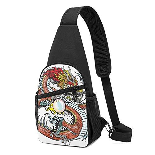 Dragón chino con perla impresa Sling Backpack,Mochila ligera para el pecho del hombro de viaje senderismo bolsa bandolera, color Negro, talla Talla única