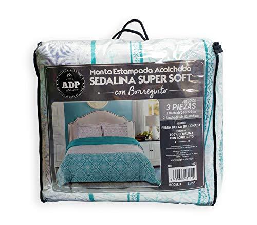 ADP Home - Conforter Sedalina Estampada Luna con Borreguito (240x220 CM) + 2 Fundas de Almohada con Volante (50x70 +5 CM)