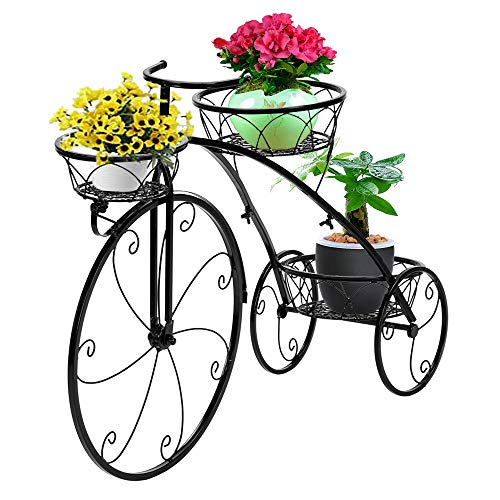 VINGLI Tricycle Plant Stand, Flower Pot Cart Holder Patio Stand Holder Outdoor Displaying Plants Flowers (Black-Bicycle)