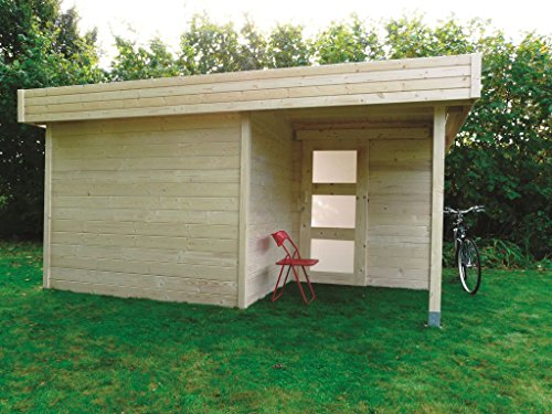 Tuinhuis met luifel Pirum S8220-28 mm blokhut, grondoppervlak: 12,72 m2, plat dak