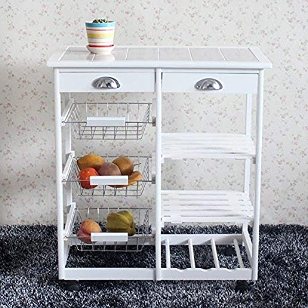 Henf Kitchen Dining Room Island Cart Rolling Microwave Stand Baker Cart Trolley Table With 2 Drawer 3 Basket 3 Shelf Rolling Wheels