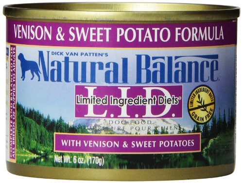 Natural Balance L.I.D. Limited Ingredient Diets Canned Wet Dog Food, Grain Free, Venison And Sweet Potato Formula, 6-Ounce (Pack Of 12)