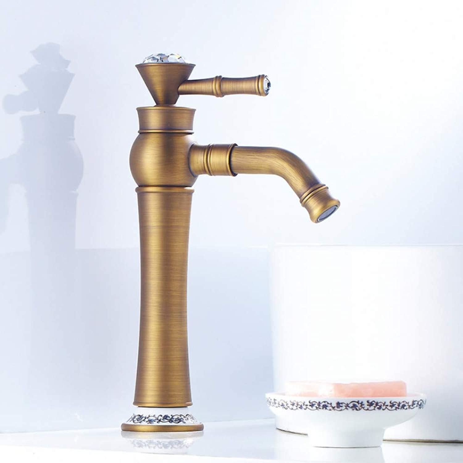 Lddpl Antique Brass faucets Bathroom Brushed Sink Basin Faucet Mixer Water Tap with Ceramic Home Y10085