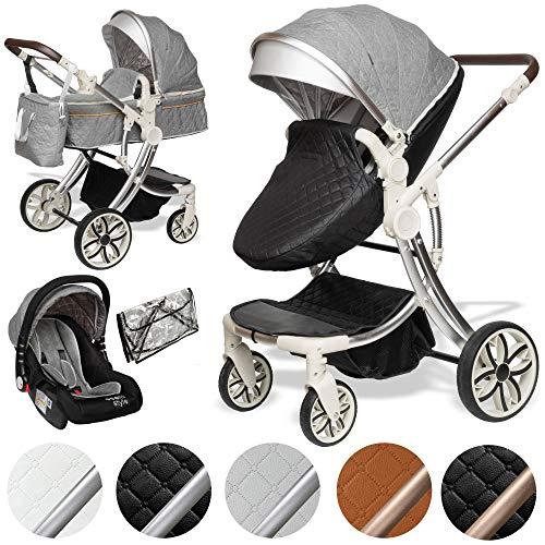 ib style® 3 in 1 JUMA Kombikinderwagen| Kinderwagen + Buggy | inkl. Autoschale | inkl. Regenschutz | Klappbar | SCHWARZ/GRAU