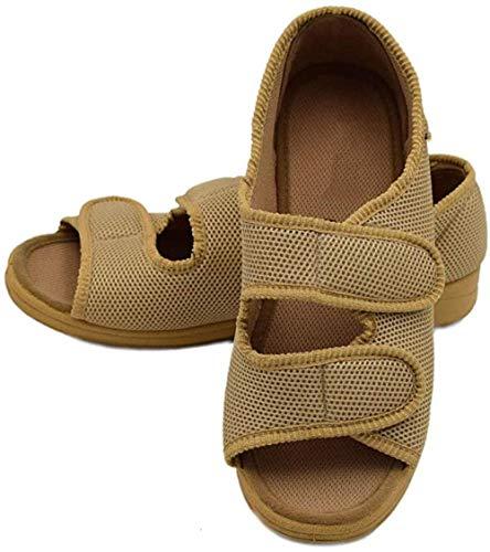 DYWLQ Sandalias ortopédicas para hombre y mujer, zapatillas para ancianos, zapatos extra anchos con velcro ajustable con punta abierta, para calzado inflamado con artritis diabética