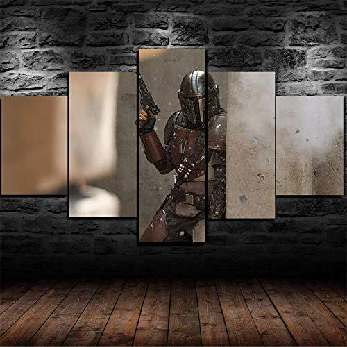 GSDFSD Composición de 5 Cuadros de Madera para Pared - Póster Mandalorian Star Wars - Cuadros Dormitorios Modernos - Listo para Colgar - 100 * 50 cm