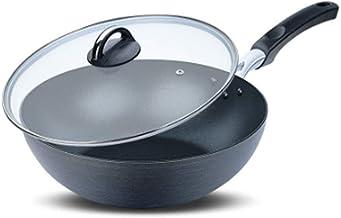 CPWJD Pan, Frying Pan, Heat Collecting Ring Design, Better Heat Conduction, Faster Heat Conduction, 11.2 Inches Black (Siz...