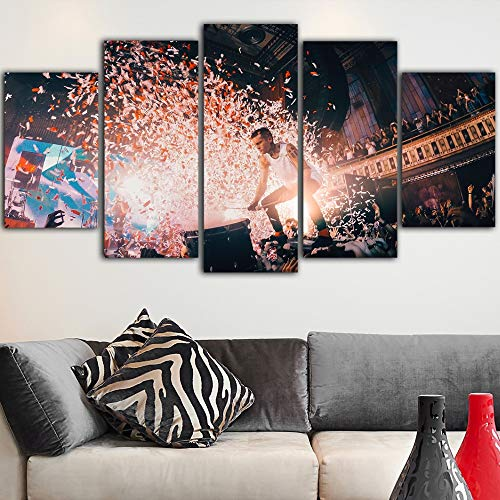 HQATPR 5 Piece Large Canvas Paintings Framed Picture Art Music Twenty One Pilots Canvas Wall Prints Poster Cradros Decor