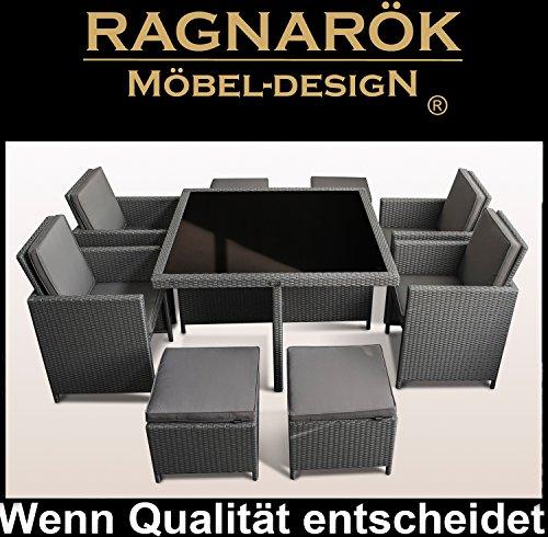 Ragnarök-Möbeldesign PolyRattan - DEUTSCHE Marke - EIGNENE Produktion - 8 Jahre GARANTIE auf UV-Beständigkeit Gartenmöbel Essgruppe Tisch + 4 Stühle & 4 Hocker 12 Polster Platinum Grau - 3