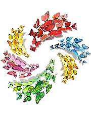 GZjiyu 120 stuks 3D vlinders, afneembare decoratieve vlinders voor woning woonkamer kinderkamer muur raam muurstickers (magnetisch en pin-type)