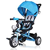 Triciclo Infantil Deuba para Niño Pequeño y Bebés con Protección Solar, Plegable y con Barra para los Padres. Color Azul