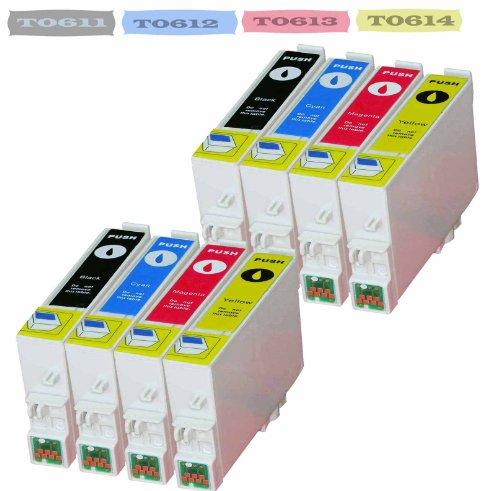 Premium 8x Cartucho de tinta reemplaza a Epson T0611, T0612, T0613, T0614Epson Stylus D 68, D 68PE, Epson Stylus D 88, Epson Stylus D 88PE, D 88Plus, DX 3800