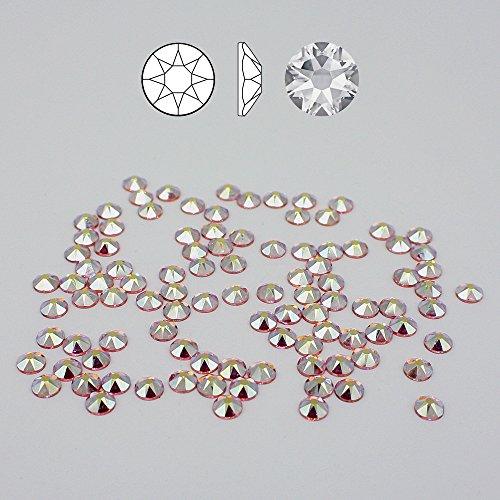 Christoph Palme Leuchten 100 Stück Swarovski 2088 Strass-Steine ø 4 mm SS16 Fix XIRIUS Rose Light Rosa Aurore Boreale zum kleben Glitzersteine Schmucksteine