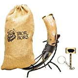 Thor Horn Large Viking Drinking Horn with Metal Stand for Men and Women - Genuine Handcrafted Viking Horn Cup for Mead, Ale and Beer - Original Medieval 20 Oz Mug and Burlap Sack (Metal Stand)