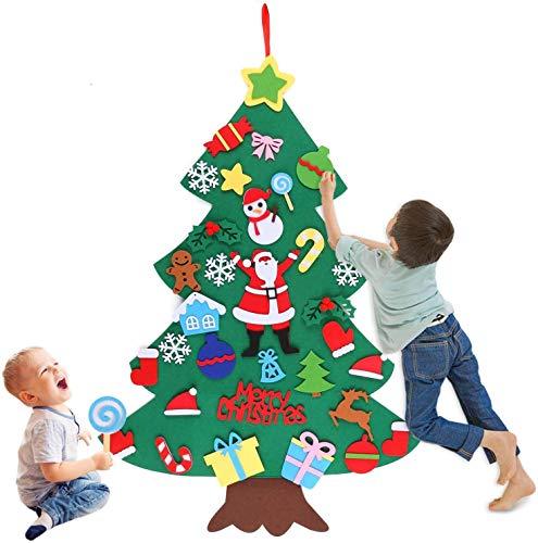 Huker Feltro Albero Natale, Feltro Albero di Natale con 32 Pezzi Ornamenti Staccabili. Albero di Natale Fai da Te per Bambini Regali di Natale, Decorazioni Natale per Pareti di Porte (100 x 70cm) (B)