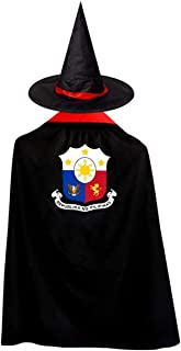 Philippines National Emblem Halloween Costumes Witch Wizard Cloak with Hat Wizard Cape Child's for Kids Boys Girls