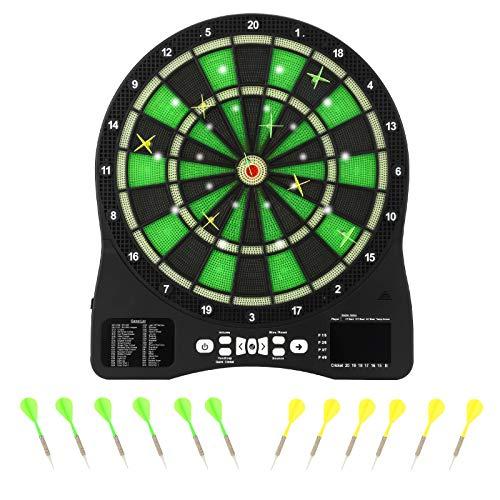 MATHOWAL Elektronische Dartscheibe 12 Pfeilen & 30 Ersatzsspitzen LED Beleuchteten Ziffern 48 Hauptspielen & 315 Spielvarianten, Dartplatte für 1-8 Spieler