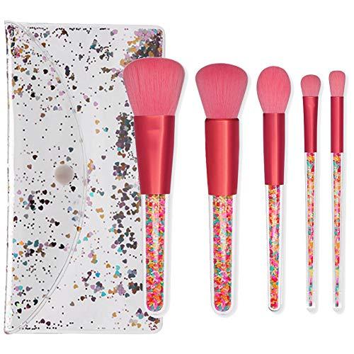 5 pcs brosse de maquillage de beauté outils de ménage quotidien ombre blush cheveux poignée fibre chimique transparent oeil brosse
